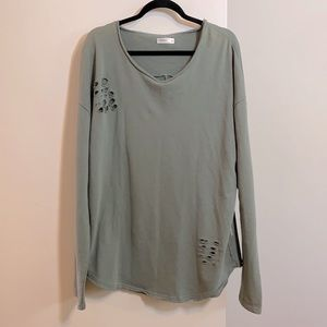 Vitaly Sage Green Oversized Distressed Sweatshirt